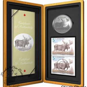 Stamp & 5$ Coin Set. The Majestic Moose