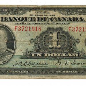 1935 Billet d'un dollar (George V)  Banque du Canada
