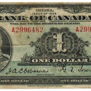 1935 Billet de 1$ (George V) Bank of Canada