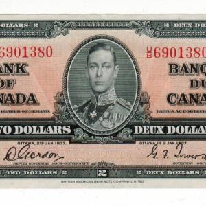 1937 EF+ Billet de 2$ du  Canada