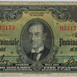1936 Banque Provinciale / Provincial Bank 5$ – bilingual