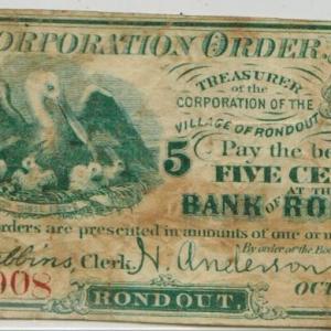 5 cents  Rondout 1862