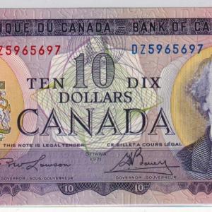 1971 Billet de 10$ – Banque du Canada