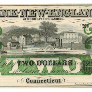 1865 Bank of New England – two dollars note