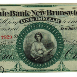 1860  State Bank of New Brunswick – billet de 1$