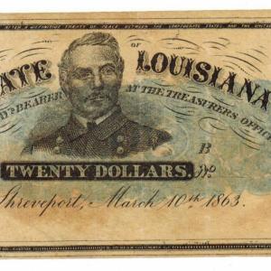 1863 State of Louisiana – twenty dollars note