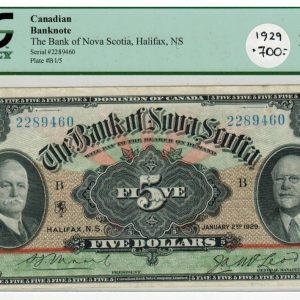 1929  Billet de 5$ – the Bank of Nova Scotia