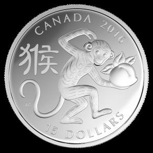 2016 Pièce de 15$ en argent fin – année du singe