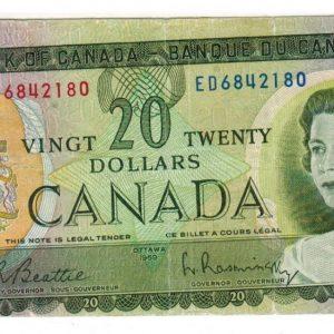 1969 Twenty dollar bill – Bank of Canada – error