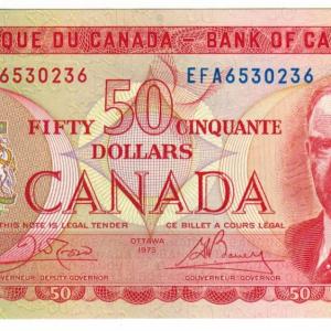 1975 Fifty dollar bill – Bank of Canada – UNC