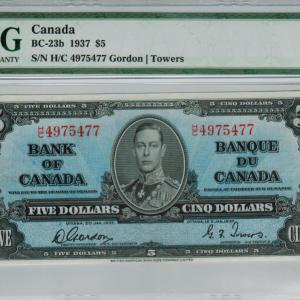 1937 Five dollar bill – Bank of Canada – choice VF 35