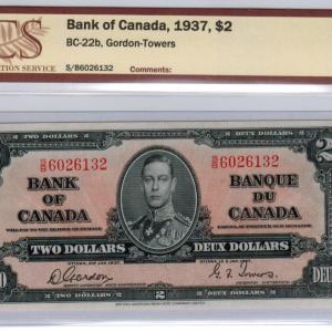 1937  Two dollar bill – Bank of Canada – EF 40