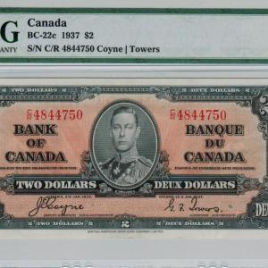 1937 Two dollar bill – Bank of Canada – EF40
