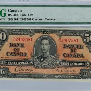 1937 Fifty dollar bill – Bank of Canada – EF 40