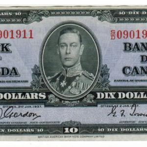 1937  Ten dollar bill – Bank of Canada – VF+