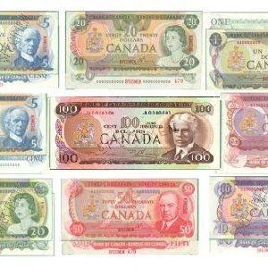Billets spécimens des émissions multicolores de 1969-1979