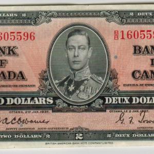 1937 Billet de 2$ Banque du Canada VF – Osborne signature