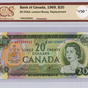 1969 Billets de 20$ – Banque du Canada