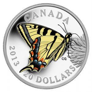 2013 piece de 20$ en argent fin – les papillons du Canada