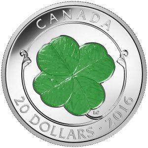 2016 fine silver 20$ coin  four-leaf clover