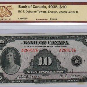 1935 Billet de 10$ (Anglais) – Banque du Canada
