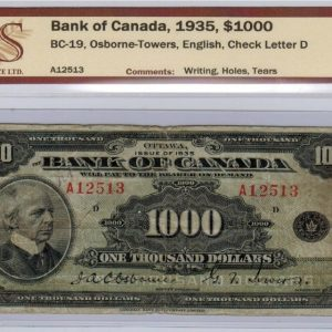 1935 Billet de 1000$ (Anglais) – Banque du Canada