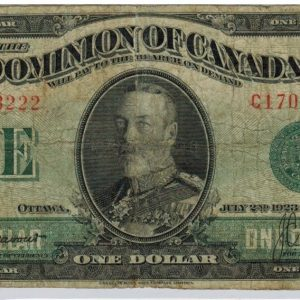 1923 Billet de 1$ – Very Good (tear) – Dominion du Canada