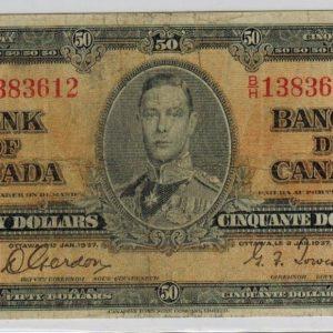 1937 Billet de 50$ (Fine) – Banque du Canada