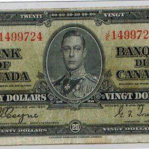1937 Billets de 20$  Fine+   Banque du Canada