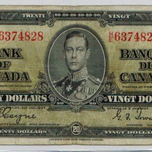 1937 Billet de 20$  Fine  Banque du Canada
