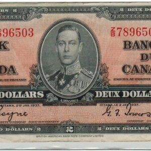 1937 – 2 dollars Paper money – VF+ – Bank of Canada