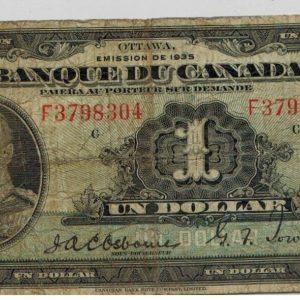 1935 – Billet 1 dollar – VG – Banque du Canada