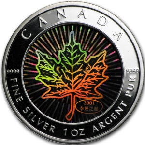 2001 – Pièce holographique Feuille d'érable en argent