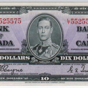 1937 – Billet de 10 dollars – No Cons. – Banque du Canada