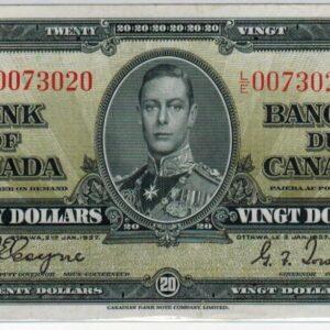 1937 – Billet de 20 dollars – EF+ – Banque de Canada