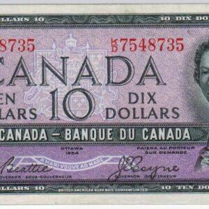 1954 – Billet de 10 dollars – EF+ – Banque du Canada