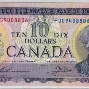 1971 – Billet de 10 dollars – UNC – Banque du Canada